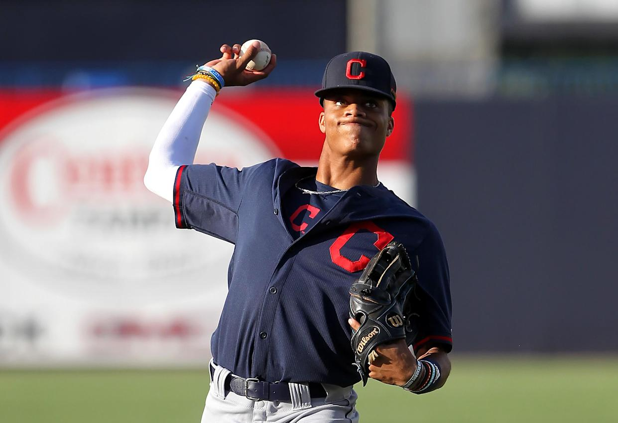 """Jordyn Adams is the <a class=""""link rapid-noclick-resp"""" href=""""/mlb/teams/laa"""" data-ylk=""""slk:Angels"""">Angels</a>' first round draft pick, and he's got ridiculous dunking skills. (Photo by Cliff Welch/Icon Sportswire via Getty Images)"""
