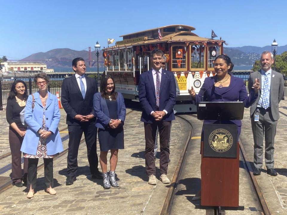 Mayor London Breed talks about the return of cable cars during a news conference at the Hyde Street cable car turnaround in San Francisco, Tuesday, June 15, 2021. The mayor announced that the famed cable cars would be running again in August. (AP Photo/Olga Rodriguez)