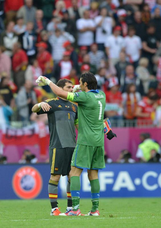 Italian goalkeeper Gianluigi Buffon (L) and Spanish goalkeeper Iker Casillas congratulate each other at the end of the Euro 2012 championships football match Spain vs Italy on June 10, 2012 at the Gdansk Arena. AFP PHOTO / GABRIEL BOUYSGABRIEL BOUYS/AFP/GettyImages