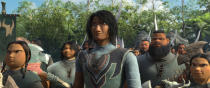"""Animated character Spine Chief, voiced by Ross Butler, center, appears in a scene from """"Raya and the Last Dragon."""" (Disney+ via AP)"""