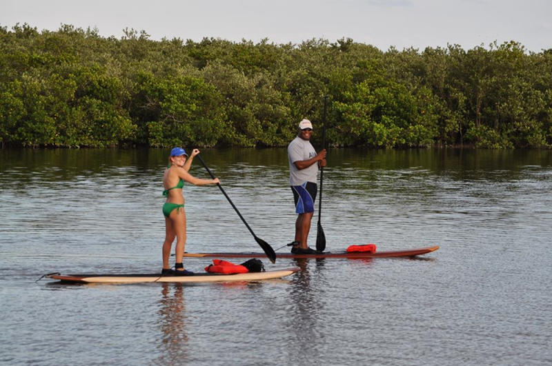This Oct. 25, 2013 photo provided by Three Brothers Boards shows Tonya Saylor and Gary Wilson on best wood paddle boards enjoying a leisure paddle on the Halifax River, in Port Orange, Fla. A sort of combination between surfing and kayaking, standup paddling has exploded in popularity the past few years. It's relatively easy and can be done just about anywhere there's water. (AP Photo/Three Brothers Boards, Claude Lamour)