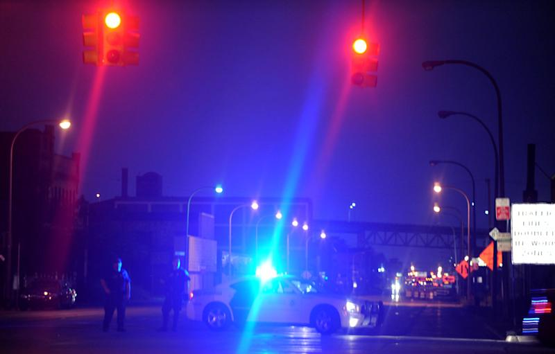 The U.S. Border patrol blocks Fort Street in Detroit following a bomb threat that closed the Ambassador Bridge to Canada Monday, July 17, 2012. Someone phoned in a threat from the U.S. side of the busy international border crossing around 7:20 p.m. (AP Photo/Detroit News, Elizabeth Conley) DETROIT FREE PRESS OUT; HUFFINGTON POST OUT