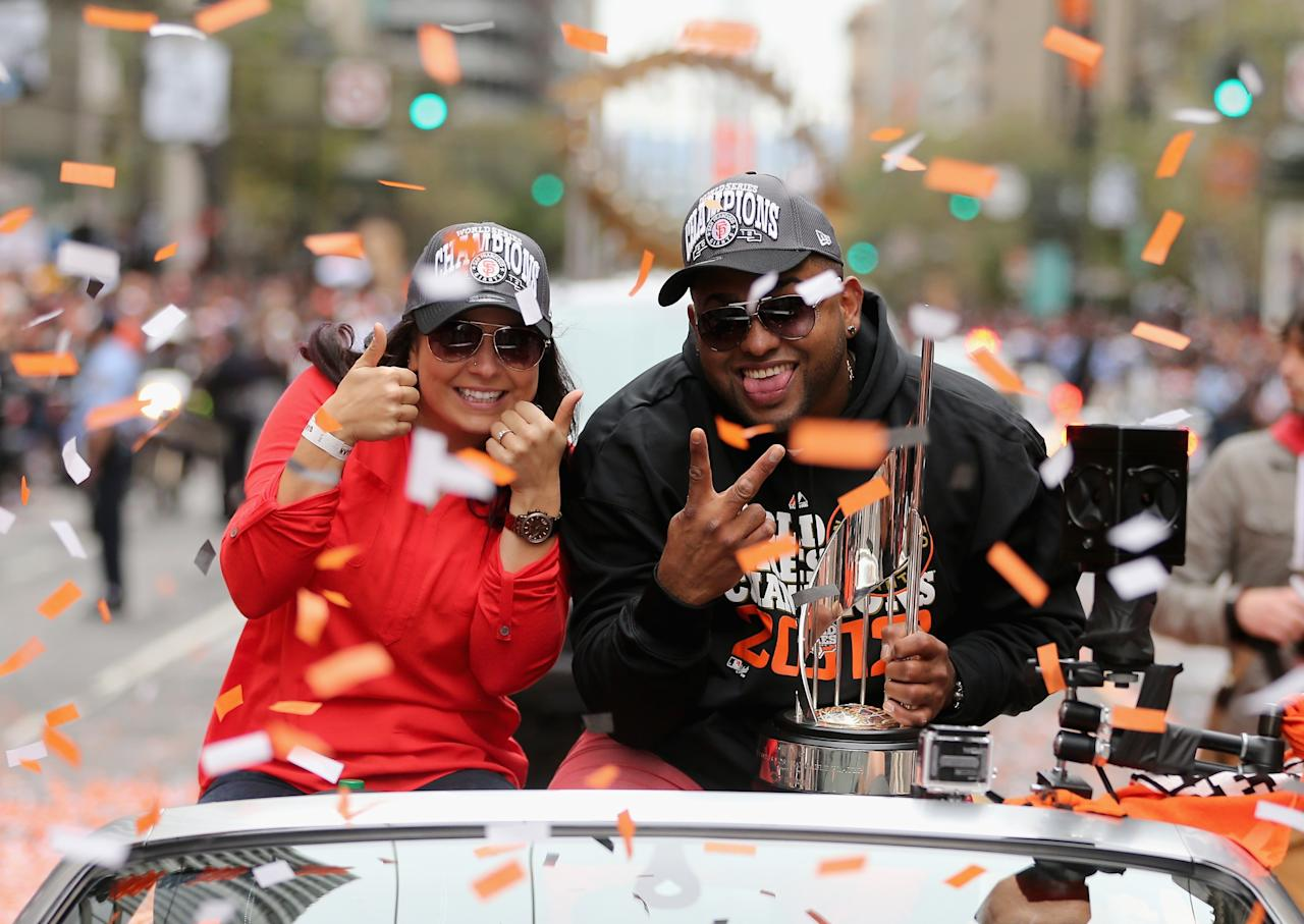 SAN FRANCISCO, CA - OCTOBER 31:  Pablo Sandoval #48 of the San Francisco Giants holds his World Series MVP trophy during the San Francisco Giants World Series victory parade on October 31, 2012 in San Francisco, California. The San Francisco Giants beat the Detroit Tigers to win the 2012 World Series.  (Photo by Ezra Shaw/Getty Images)