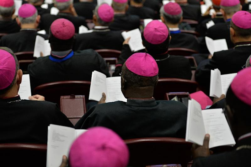Catholic bishops attend a session of the Synod on the Family at the Vatican, on October 6, 2015