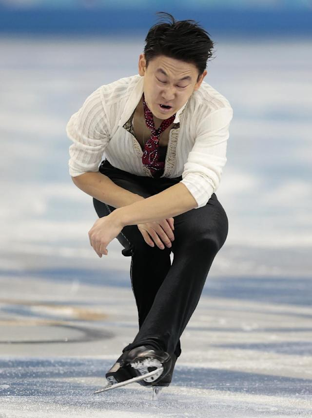 Denis Ten of Kazakhstan competes in the men's free skate figure skating final at the Iceberg Skating Palace during the 2014 Winter Olympics, Friday, Feb. 14, 2014, in Sochi, Russia