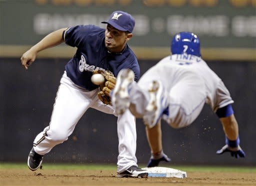 Milwaukee Brewers shortstop Cesar Izturis takes a throw to tag out Los Angeles Dodgers' James Loney as he's caught stealing second during the fifth inning of a baseball game Tuesday, April 17, 2012, in Milwaukee. (AP Photo/Morry Gash)