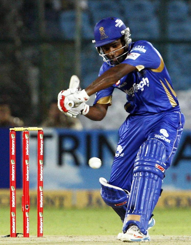 Rajasthan Royals batsman Sanju Samson in action against Perth Scorchers during the CLT20 match at Sawai Mansingh Stadium, Jaipur on Sept. 29, 2013. (Photo: IANS)