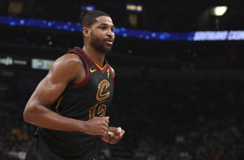 Cleveland Cavaliers forward Tristan Thompson (13) heads to the locker room after being ejected during the second half of the team's NBA basketball game against the Memphis Grizzlies on Friday, Jan. 17, 2020, in Memphis, Tenn. (AP Photo/Karen Pulfer Focht)