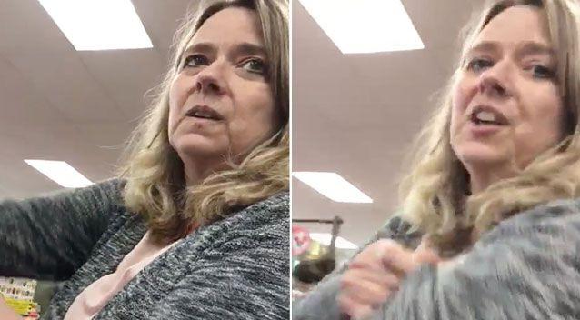 A woman was shamed on mobile phone video making hateful comments about Muslims while waiting in line at a US supermarket. Picture: Facebook/Jeremy McLellan Comedy