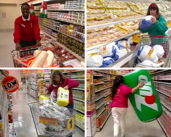 During the final round, contestants would run around the supermarket shoveling items into carts in hopes of accruing the highest grocery bill. (Photo: Courtesy of Netflix)