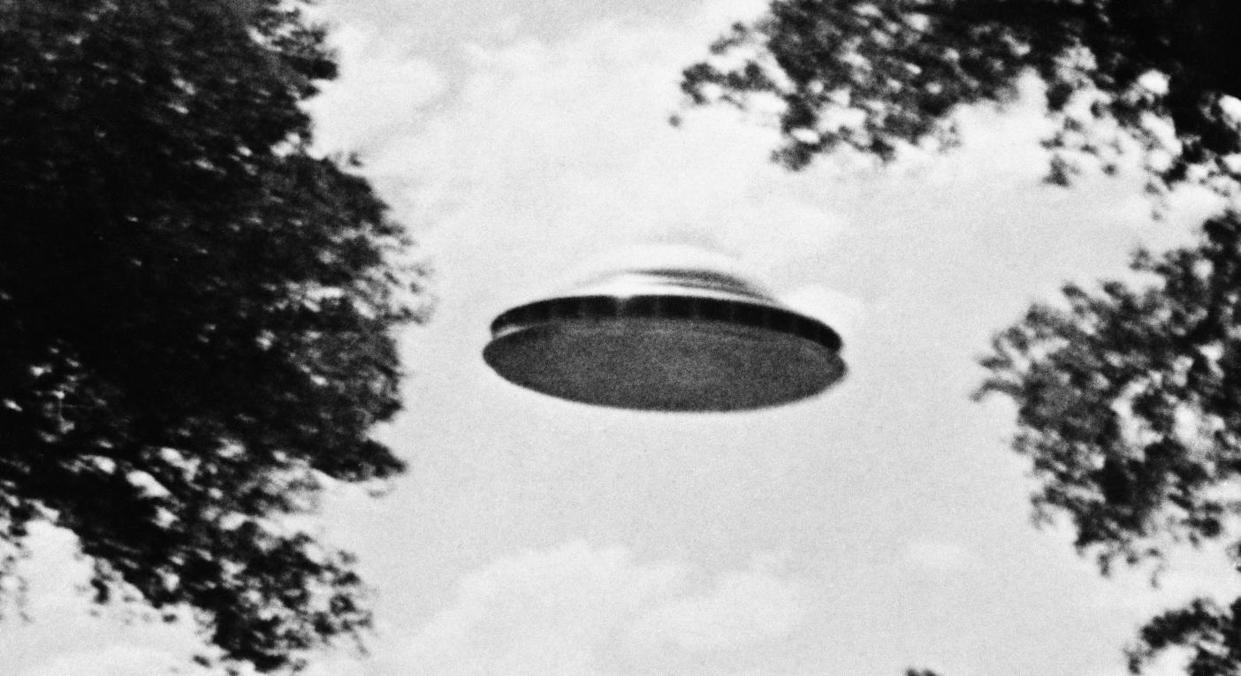 A flying saucer taken by a member of The Amalgamated Flying Saucer Club of America in the 1960s (Getty)