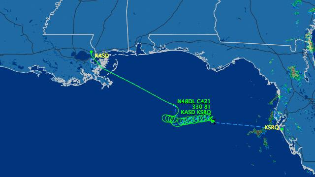 Unresponsive Plane Crashes in Gulf of Mexico
