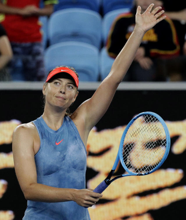 Russia's Maria Sharapova celebrates after defeating Sweden's Rebecca Peterson in their second round match at the Australian Open tennis championships in Melbourne, Australia, Thursday, Jan. 17, 2019. (AP Photo/Aaron Favila)