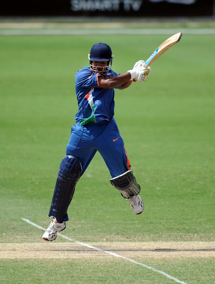 TOWNSVILLE, AUSTRALIA - AUGUST 23:  Aksh Deep Nath of India bats during the ICC U19 Cricket World Cup 2012 Semi Final match between India and New Zealand at Tony Ireland Stadium on August 23, 2012 in Townsville, Australia.  (Photo by Malcolm Fairclough-ICC/Getty Images)