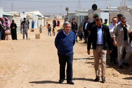 United Nations Secretary General Antonio Guterres visits at Al Zaatari refugee camp in the Jordanian city of Mafraq