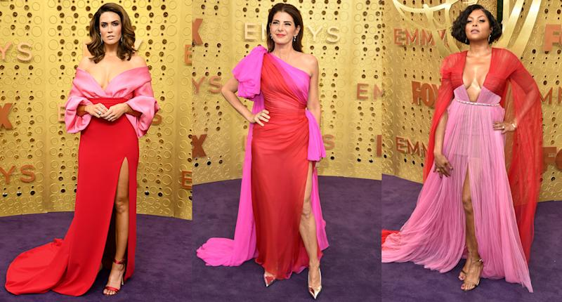 Mandy Moore, Marisa Tomei and Taraji P. Henson at the Emmys. (Photo: Getty Images)