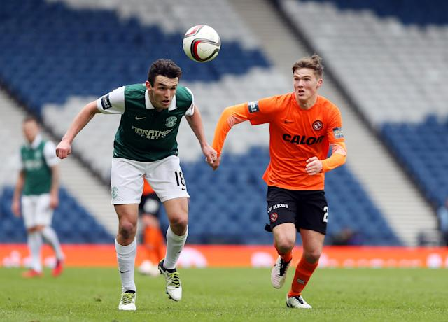 Football Soccer - Hibernian v Dundee United - William Hill Scottish Cup Semi Final - Hampden Park, Glasgow, Scotland - 16/4/16 Hibernian's John McGinn in action with Dundee United's Blair Spittal Action Images via Reuters / Russell Cheyne Livepic EDITORIAL USE ONLY.