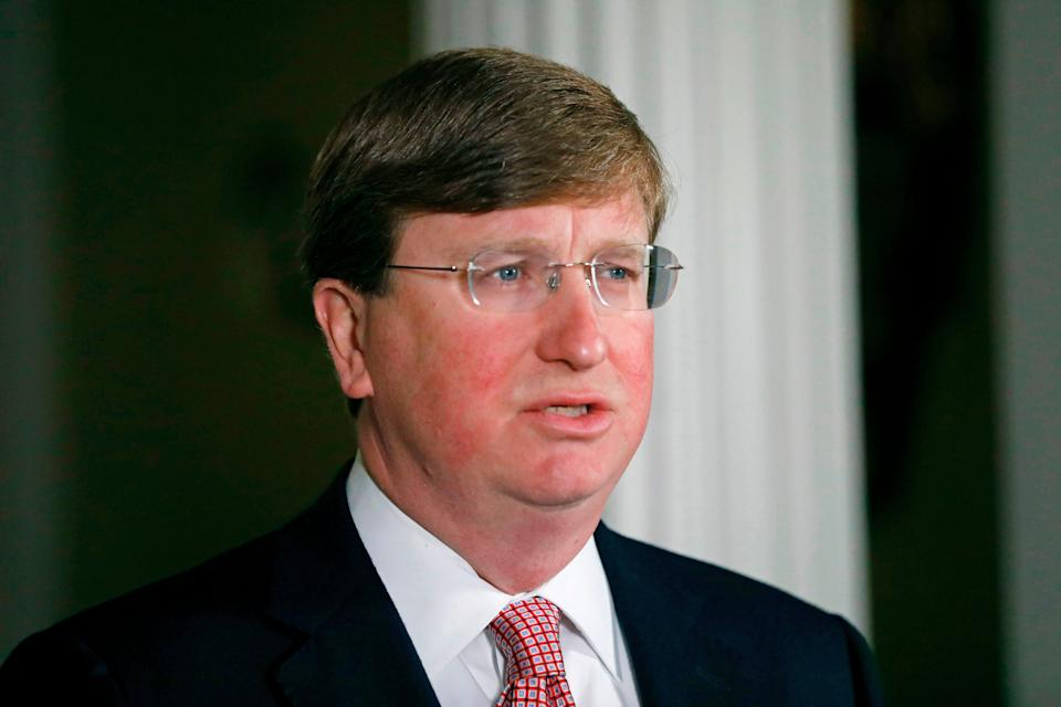 Mississippi Governor Tate Reeves speaks at a news conference (POOL/AFP via Getty Images)