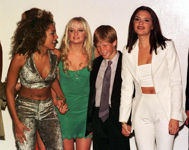 In 1997, a fresh-faced Harry met the Spice Girls backstage at their concert in South Africa. (Photo: Getty Images)