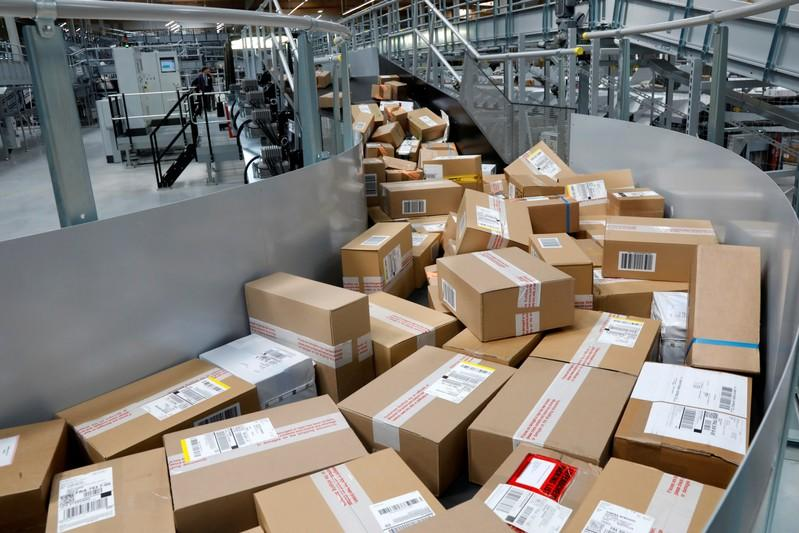 FILE PHOTO: Packages are seen at the new package sorting and delivery UPS (United Parcel Service) hub in Corbeil-Essonnes and Evry