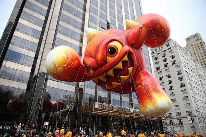 Eruptor returns to the parade for his third flight, in the 90th Macy's Thanksgiving Day Parade in New York, Thursday, Nov. 24, 2016. Literally a force of nature, Skylanders' Eruptor will fly high, delighting fans of all ages. (Photo: Gordon Donovan/Yahoo News)
