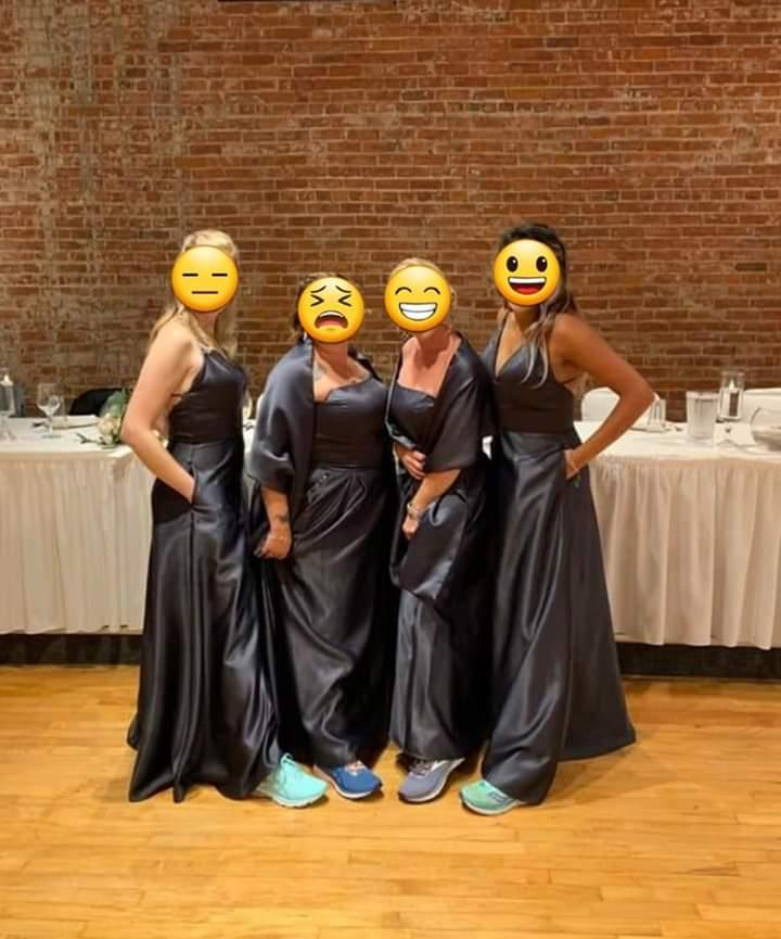 Bridal party dresses look like plastic bin bags