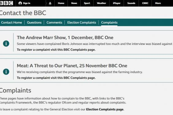 The message on the BBC website complaint's page (BBC)