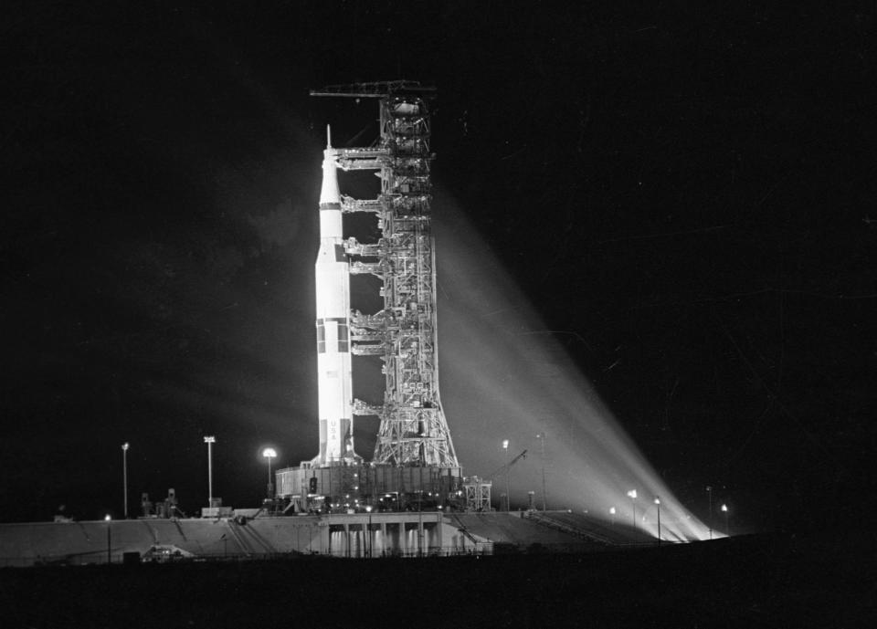 View of the NASA's Apollo 11 mission rocket illuminated on the launch pad at Kennedy Space Center, Cape Kennedy (formerly and latterly known as Cape Canaveral), Florida, July 16, 1969. (Photo: CBS Photo Archive/Getty Images)