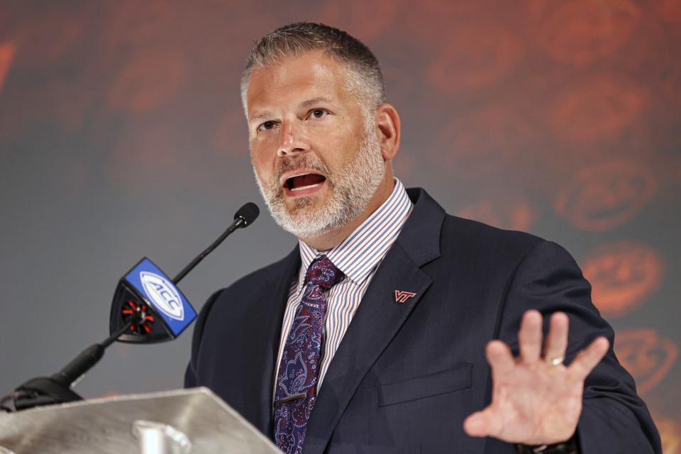 Virginia Tech head coach Justin Fuente speaks during the NCAA college football Atlantic Coast Conference media days in Charlotte, N.C., Wednesday, July 21, 2021. (AP Photo/Nell Redmond)