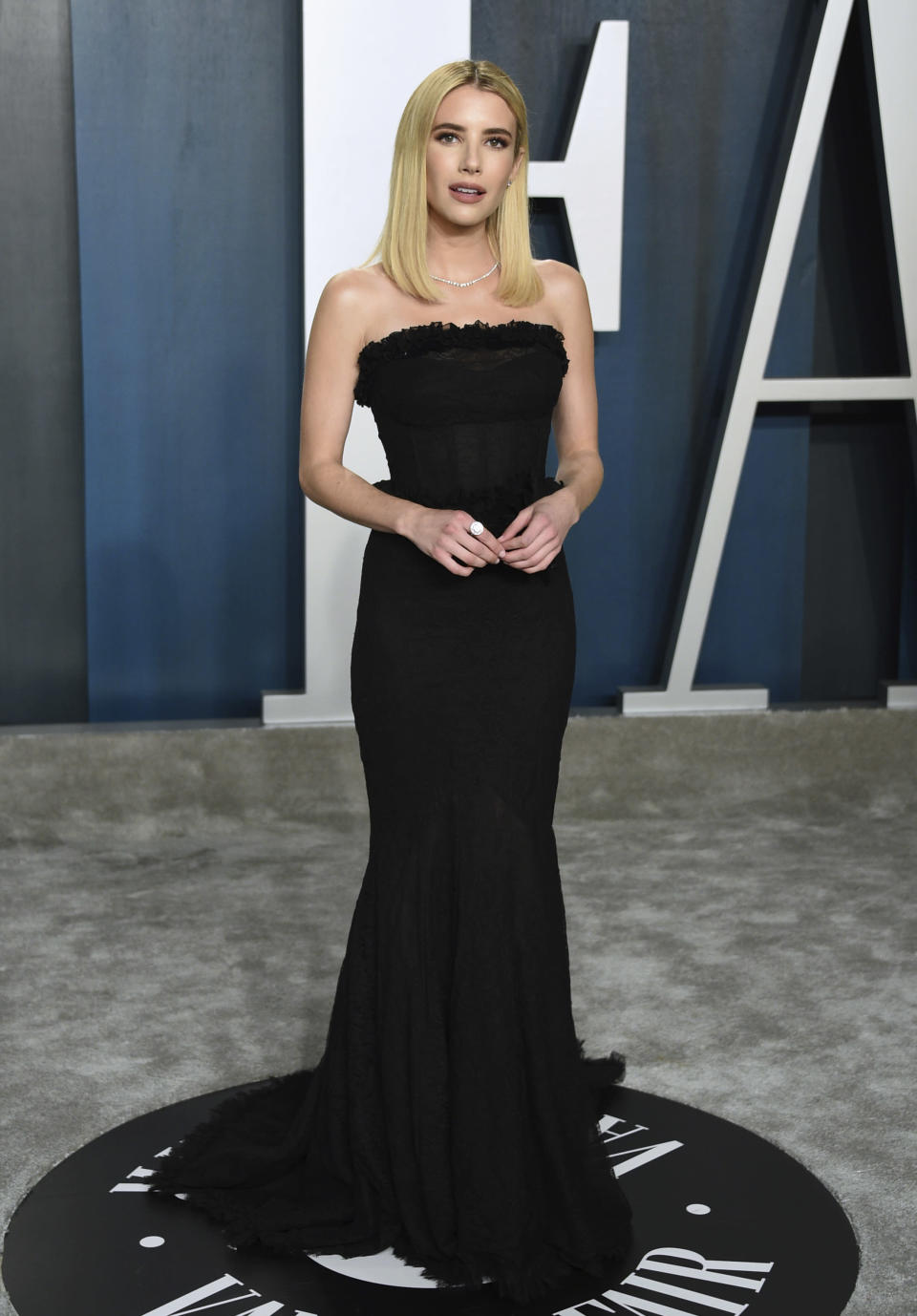 FILE - Emma Roberts arrives at the Vanity Fair Oscar Party on Feb. 9, 2020, in Beverly Hills, Calif. Roberts turns 30 on Feb. 10. (Photo by Evan Agostini/Invision/AP, File)