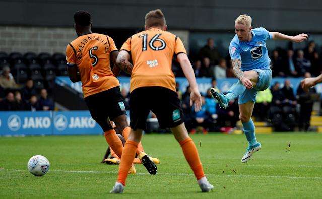 "Soccer Football - League Two - Barnet vs Coventry City - The Hive, London, Britain - October 7, 2017 Coventry City's Jack Grimmer shoots wide Action Images/Adam Holt EDITORIAL USE ONLY. No use with unauthorized audio, video, data, fixture lists, club/league logos or ""live"" services. Online in-match use limited to 75 images, no video emulation. No use in betting, games or single club/league/player publications. Please contact your account representative for further details."