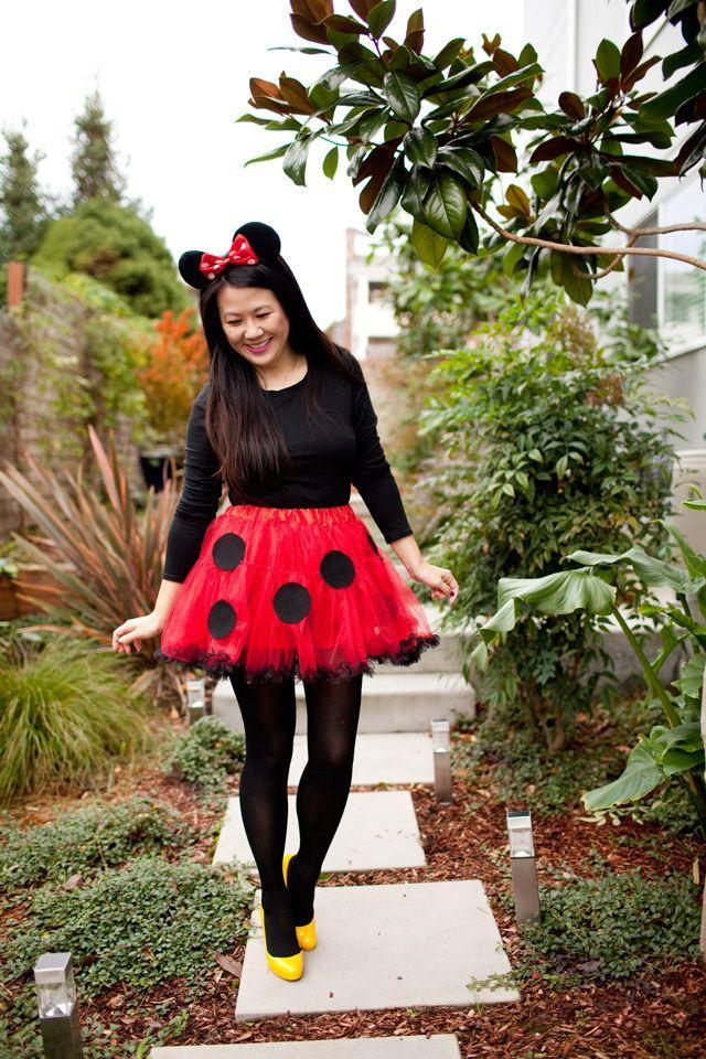 """<p>Minnie has never looked so fashion-forward. A full skirt and heels make this Disney costume extra fun to put together. </p><p><strong>Get the tutorial at <a href=""""https://www.iamstyle-ish.com/2015/10/diy-minnie-mouse-costume.html"""" rel=""""nofollow noopener"""" target=""""_blank"""" data-ylk=""""slk:I Am Style-ish"""" class=""""link rapid-noclick-resp"""">I Am Style-ish</a>. </strong></p><p><strong><a class=""""link rapid-noclick-resp"""" href=""""https://www.amazon.com/Mickey-Rainbow-Minnie-Sparkly-Electrical/dp/B07G35Z69M?tag=syn-yahoo-20&ascsubtag=%5Bartid%7C10050.g.22118522%5Bsrc%7Cyahoo-us"""" rel=""""nofollow noopener"""" target=""""_blank"""" data-ylk=""""slk:SHOP MOUSE EARS"""">SHOP MOUSE EARS</a><br></strong></p>"""