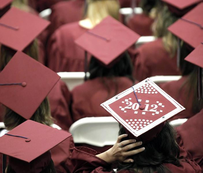 FILE - In this May 21, 2012, file photo, graduates from Joplin High School listen to speakers during commencement ceremonies in Joplin, Mo. U.S. public high schools have reached a milestone, an 80 percent graduation rate. Yet that still means 1 of every 5 students walks away without a diploma. Citing the progress, researchers are projecting a 90 percent national graduation rate by 2020. (AP Photo/Charlie Riedel, File)