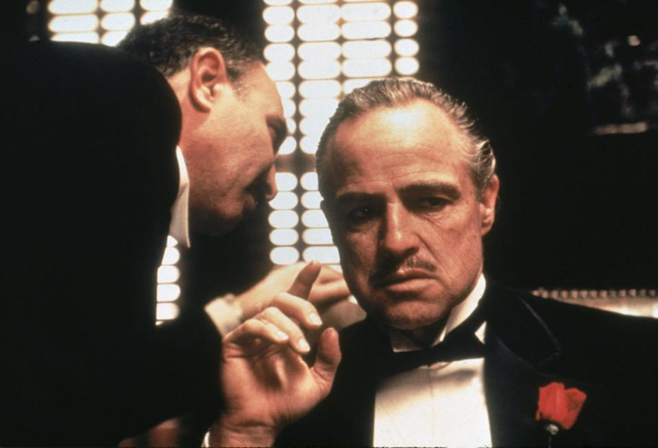 "Marlon Brando stars as Don Vito Corleone in 1972's ""The Godfather."""