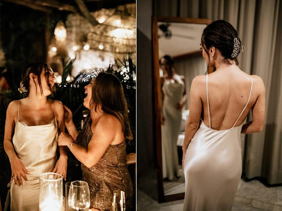 A front and back view of Thaina's reception dress