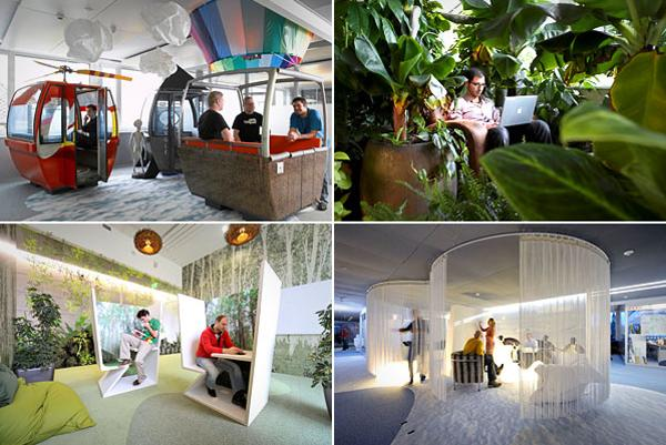 """Google's office in Zurich has gained particular attention for its workspace, which BBC News described as """"wacky."""" Designed by Camenzind Evolution, it's a haven of beanbag furniture, neon signs, egg-shaped private work areas and a fire pole to slide down from floor to floor."""