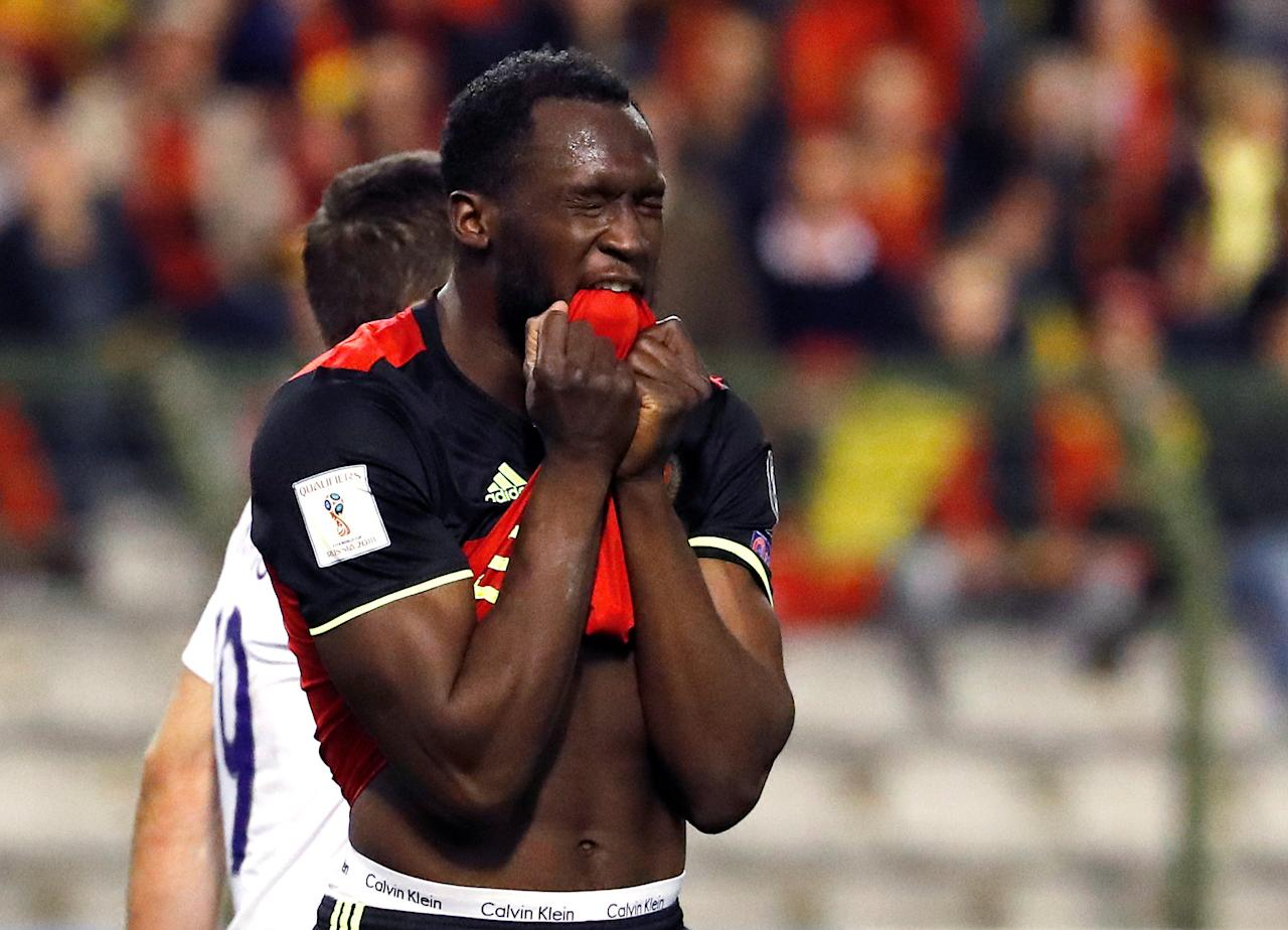 Football Soccer - Belgium v Greece - 2018 World Cup Qualifying European Zone - Group H - Stade Roi Baudouin, Brussels, Belgium - 25/3/17 Belgium's Romelu Lukaku reacts. REUTERS/Yves Herman