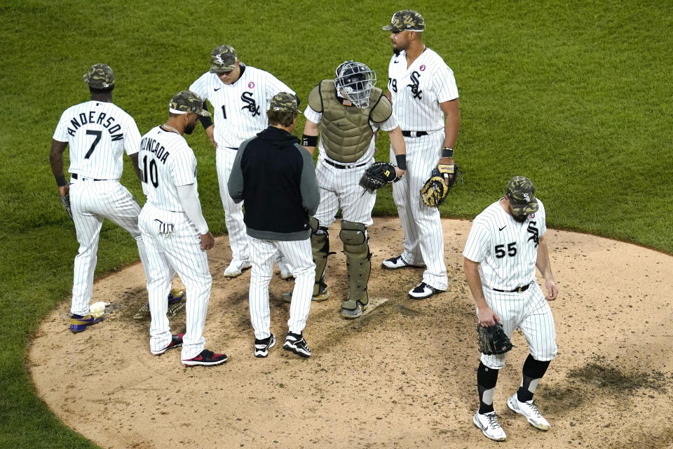Chicago White Sox starting pitcher Carlos Rodon (55) walks to the dugout after turning the ball over to manager Tony La Russa during the sixth inning of a baseball game against the Kansas City Royals in Chicago, Saturday, May 15, 2021. (AP Photo/Nam Y. Huh)