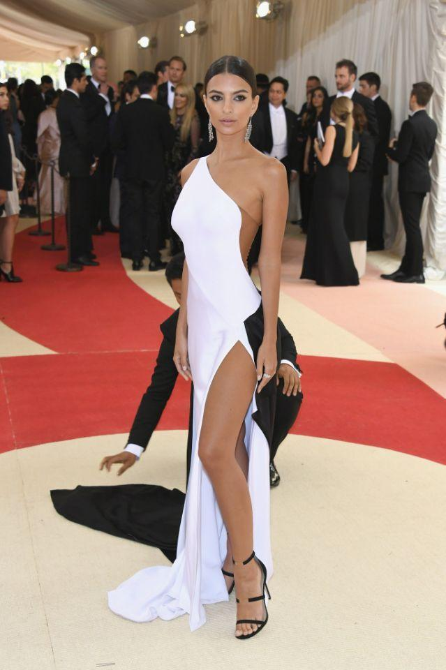 <p>Yes, the <em>Gone Girl</em> actress is showing leg at the 2016 Met Gala. But this is also a rather conservative look for her. (Photo: Getty Images) </p>