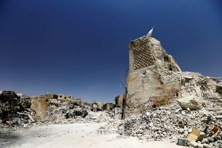 FILE PHOTO: The destroyed al-Hadba minaret at the Grand al-Nuri Mosque is seen in the Old City of Mosul, Iraq July 20, 2017. Picture taken July 20, 2017. REUTERS/Thaier Al-Sudani/File Photo