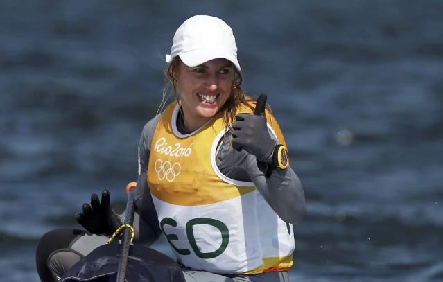 2016 Rio Olympics - Sailing - Final - Women's One Person Dinghy - Laser Radial - Medal Race - Marina de Gloria - Rio de Janeiro, Brazil - 16/08/2016. Marit Bouwmeester (NED) of Netherlands celebrates gold medal. REUTERS/Benoit Tessier FOR EDITORIAL USE ONLY. NOT FOR SALE FOR MARKETING OR ADVERTISING CAMPAIGNS. TPX IMAGES OF THE DAY