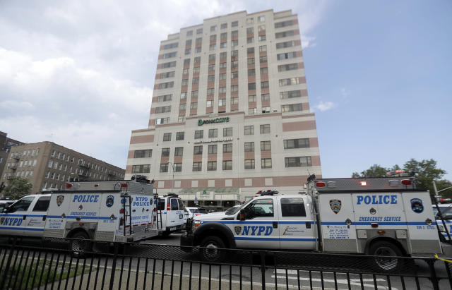 <p>Police vehicles converge on Bronx Lebanon Hospital in New York after a gunman opened fire there on Friday, June 30, 2017. The gunman, identified as Dr. Henry Bello who used to work at the hospital, apparently took his own life after shooting others, authorities said. (AP Photo/Julio Cortez) </p>