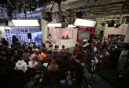 General view of the Dozhd TV studio during a news conference with Pussy Riot members Tolokonnikova and Alyokhina in Moscow