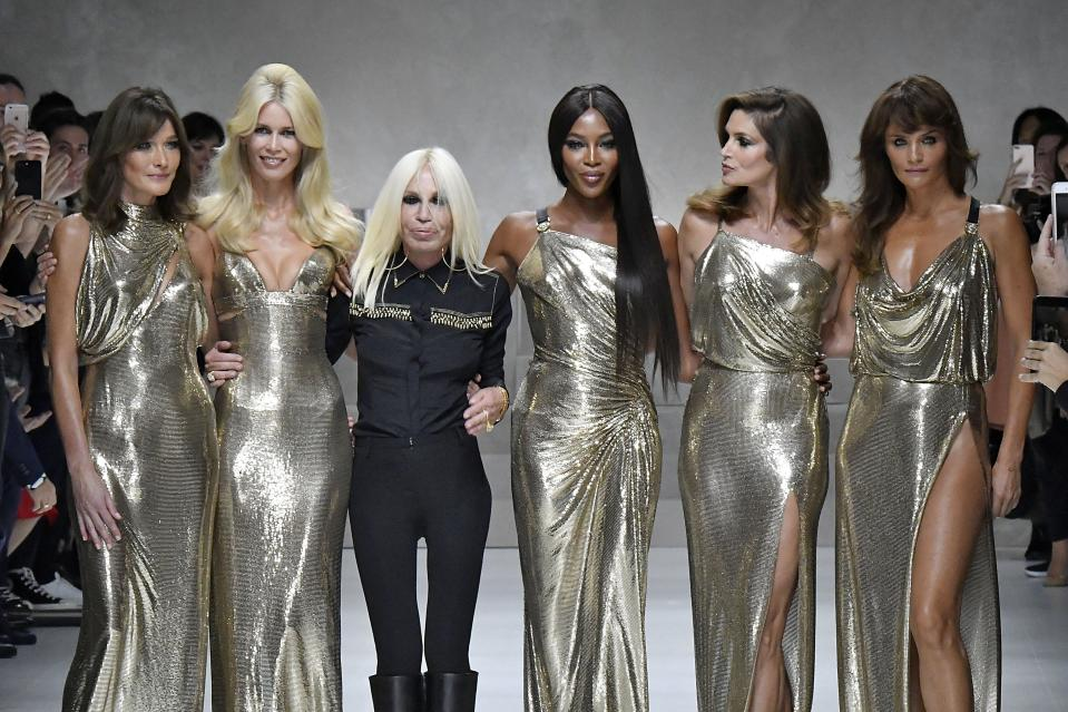 <p>Naomi Campbell joins Carla Bruni, Claudia Schiffer, and Cindy Crawford for an unforgettable Versace runway reunion. </p>