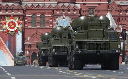 Russian S-400 Triumph medium-range and long-range surface-to-air missile systems drive during the Victory Day parade, marking the 71st anniversary of the victory over Nazi Germany in World War Two, at Red Square in Moscow