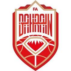 Red and gold logo for Bahrain women's national football team.