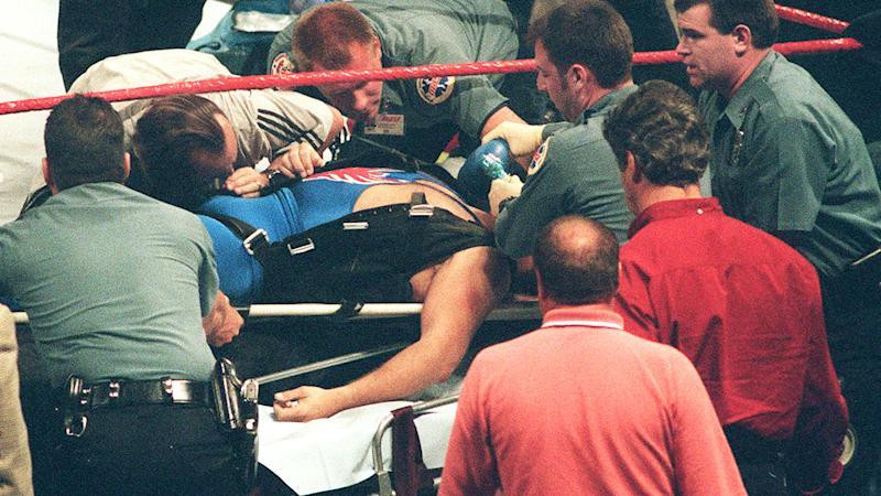Owen Hart, pictured here after falling into the ring during a stunt in 1999.