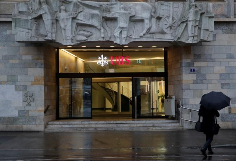 The logo of Swiss bank UBS is seen at a branch office in Zurich