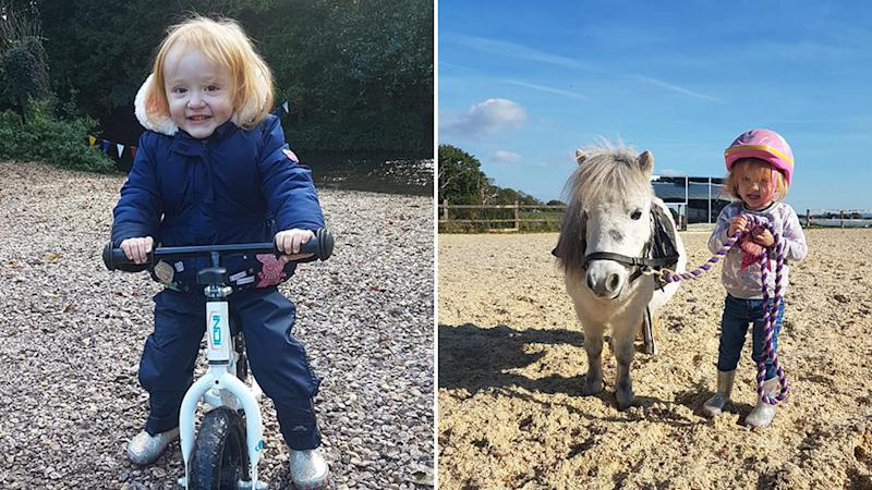 Germ cell cancer victim Aoife on her bike and, right, with her pony Bubbles. Source: Facebook.