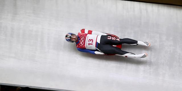 Daegwallyeong-myeon (Korea, Republic Of), 11/02/2018.- Chris Mazdzer of the USA in action during the Men's Luge Singles Run 4 competition at the Olympic Sliding Centre during the PyeongChang 2018 Olympic Games, South Korea, 11 February 2018. (Corea del Sur, Estados Unidos) EFE/EPA/DIEGO AZUBEL